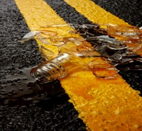 Broken Glass on road
