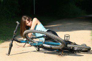 Girl fell of bicycle
